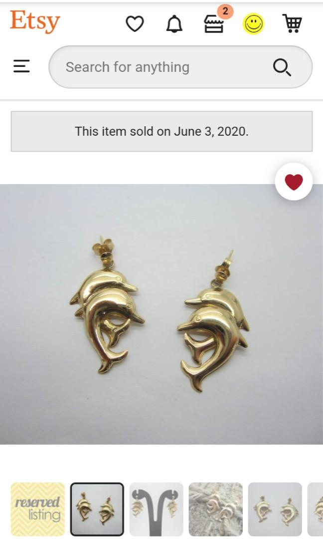 14k gold dolphin earrings