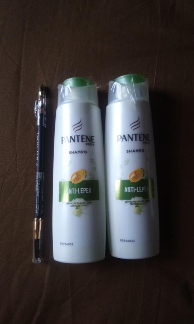 2 pieces Pantene shampoo 135ml free pensil alis implora (warna hitam)
