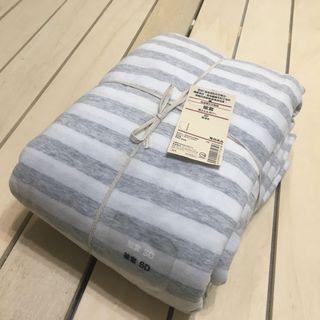 無印良品 MUJI 有機棉天竺粗紋 被套 混淺灰 SD