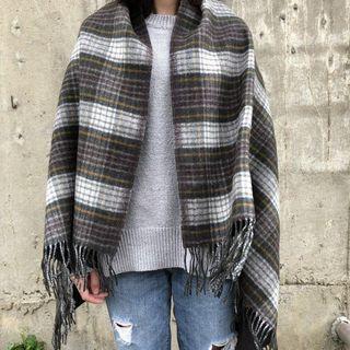 無印良品 MUJI 格紋大披肩 圍巾 Blanket 羊毛