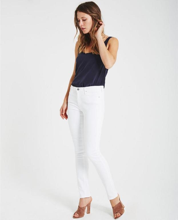 AG Adriano Goldschmied White Prima Mid-Rise Cigarette Jeans size 24 R