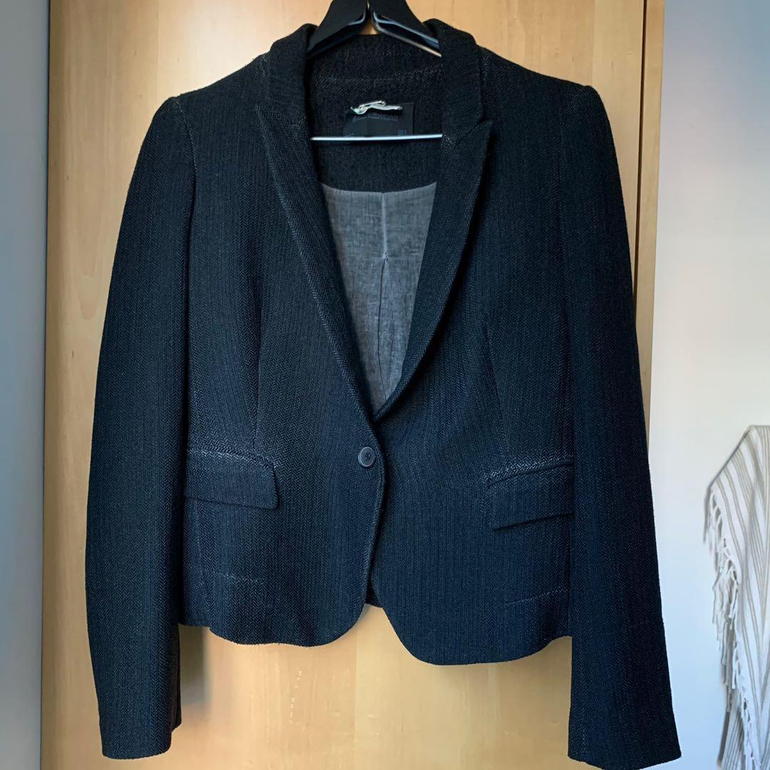 Black textured blazer Zara Women's size Small
