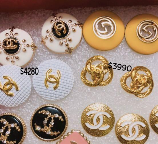 Chanel 鈕扣製成耳環