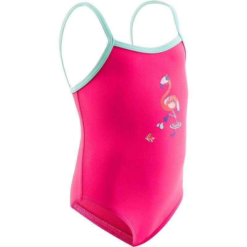 Decathlon Nabaiji Baju Renang Newborn Baby One-Piece - Flamingo (0-3 months)
