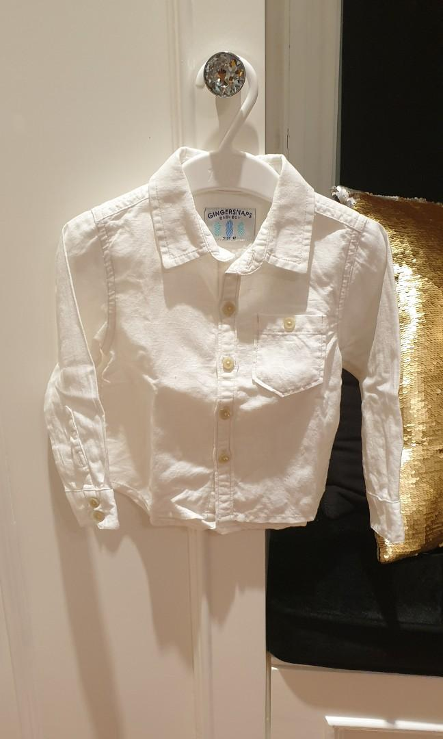 Gingersnaps Kemeja Putih anak laki (white shirt) Size 12
