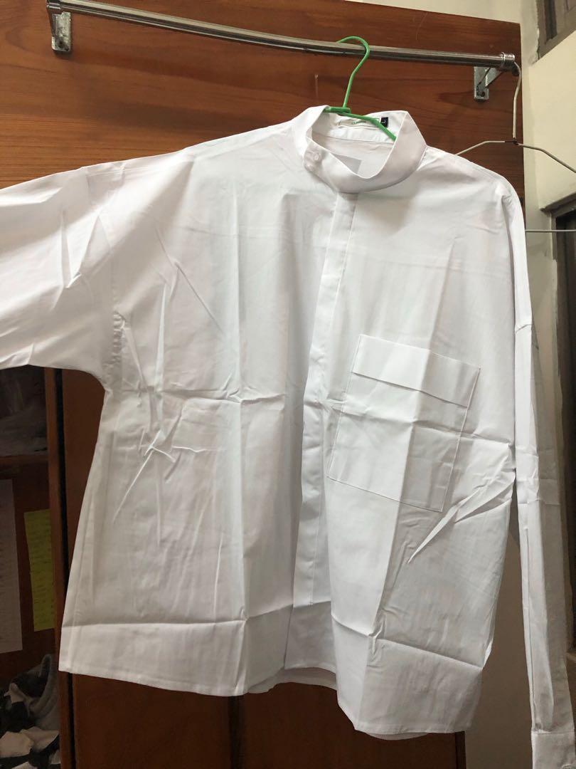 Korea moss 襯衫 #寬版 #廚師領
