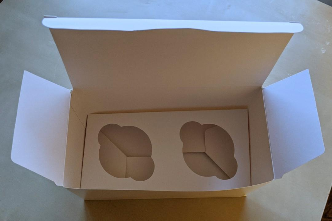 Two Cupcake Boxes with or without Inserts without window