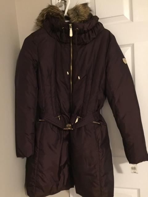 Vince Camuto Faux-Fur Trim Hooded Belted Puffer Coat/NEW/Women/L