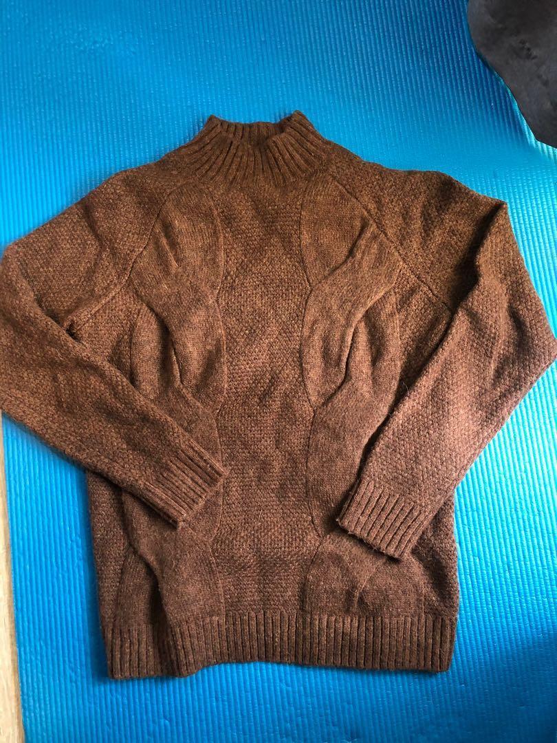 Zara 深棕色 中高領羊毛針織毛衣