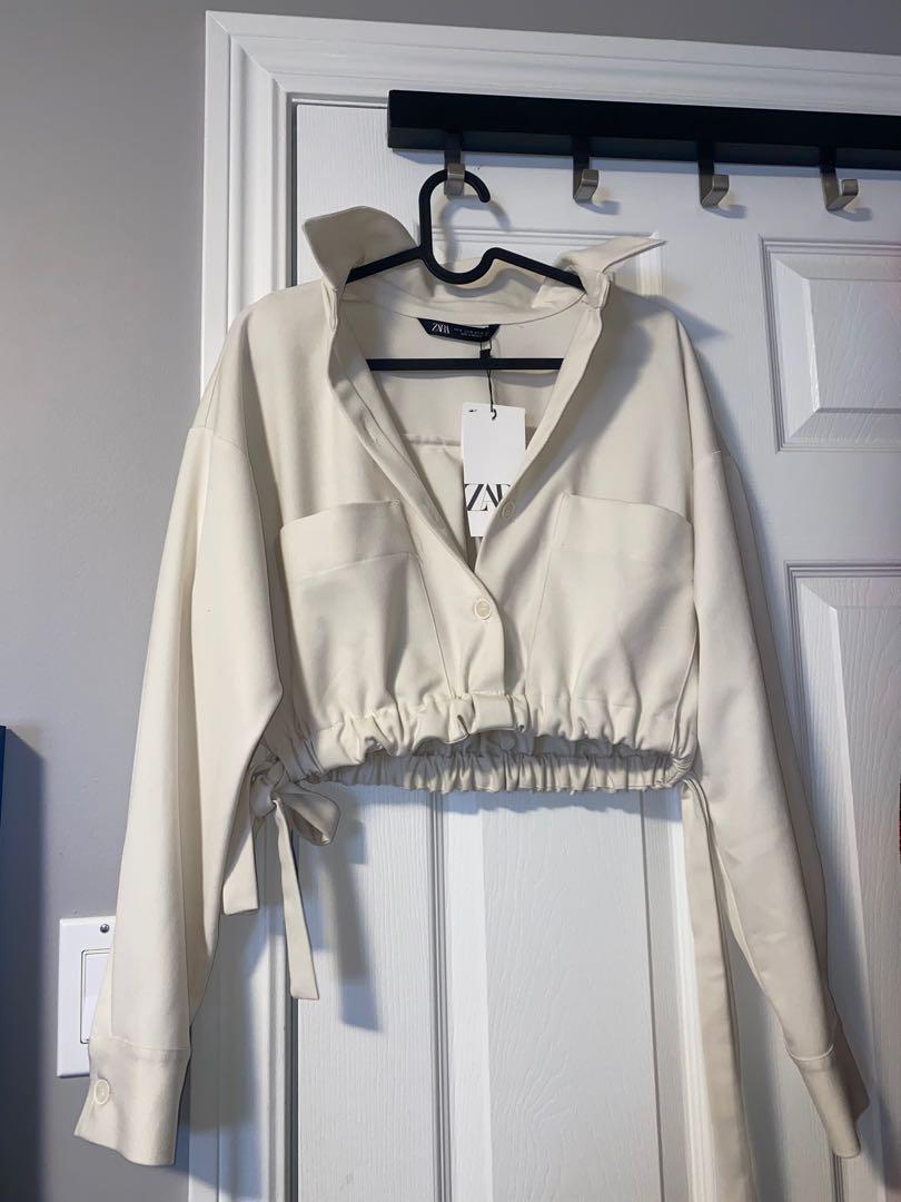 Zara cropped shirt w/ adjustable waist Sz Small