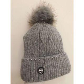 (全新)質感灰色毛球毛帽