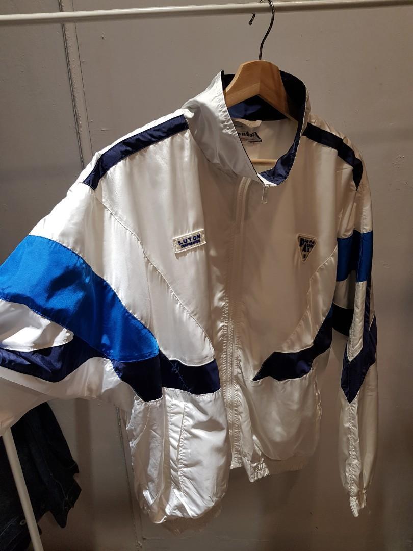 日本古著風衣 80年代 play it again 白色運動外套 女版XL 男版M號