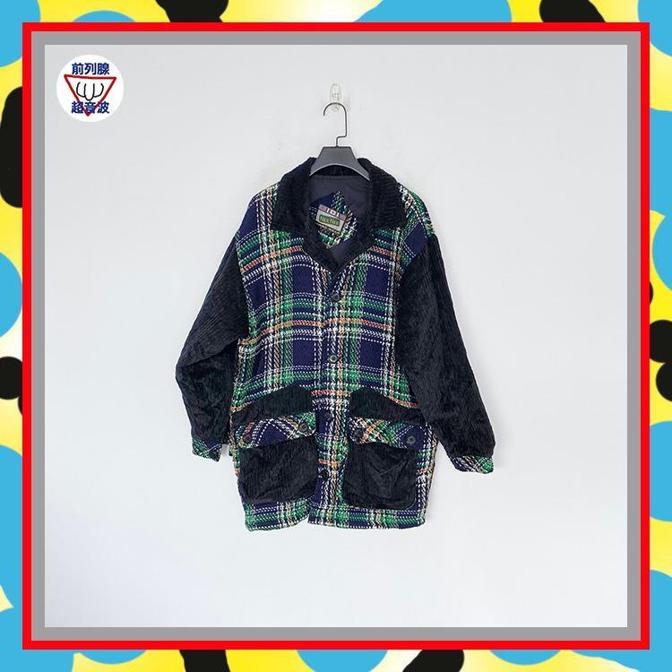 二手 黑綠藍  格紋 絨面 微毛料 微拼接 微鋪棉 大衣 外套 前列腺超音波 JA0111