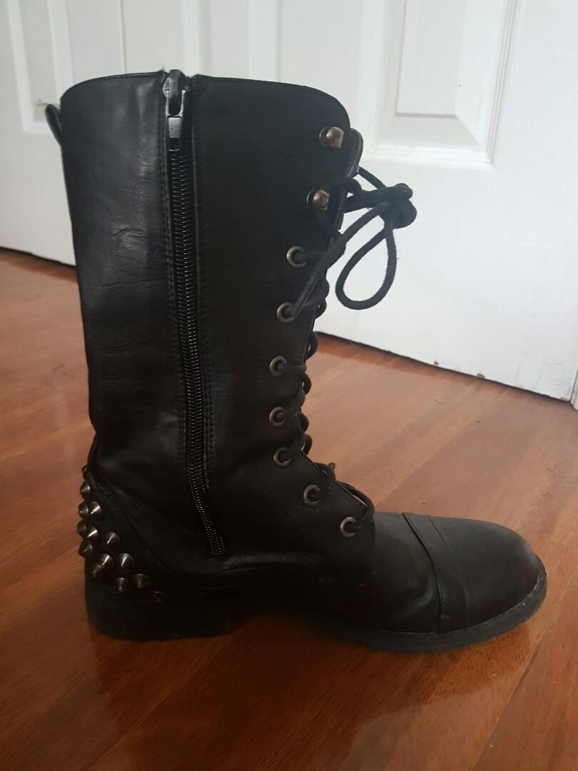 Black spike studded leather boots