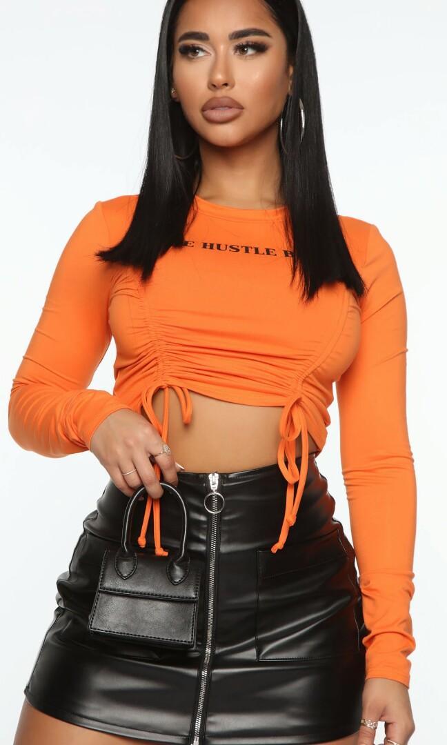 Brand New Orange 'Side Hustle Babe' Ruched Top