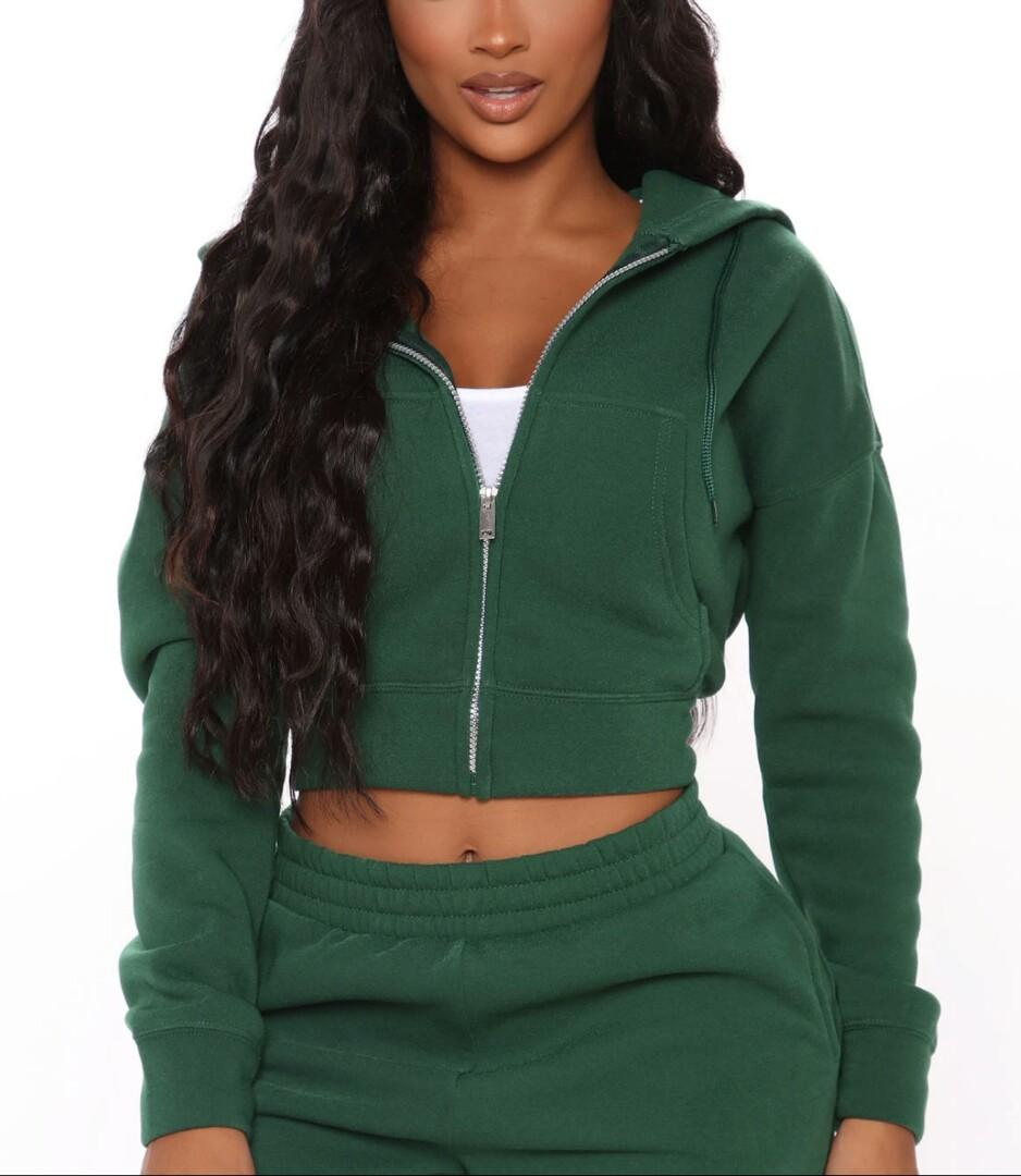Brand New With Tags! Hunter Green Cropped Hoodie
