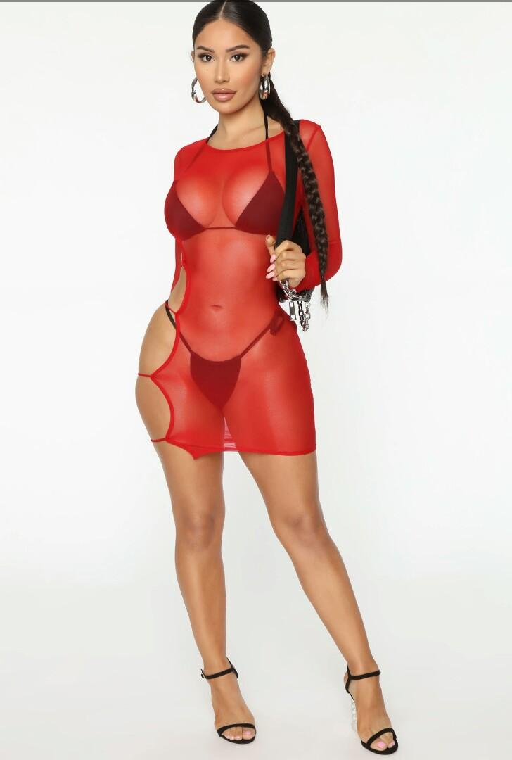 Brand New With Tags! Red Cut Out Cover Up