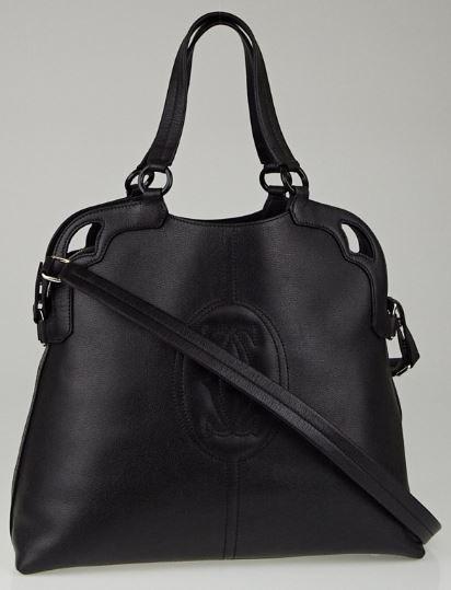 New authentic CARTIER Black Buffalo Leather Marcello de Cartier Shopping Bag