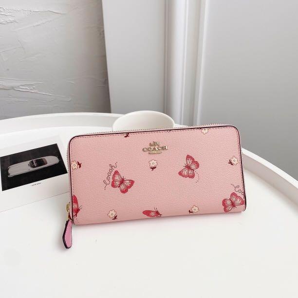 COACH 2857 限量款女士長夾 蝴蝶印花拉鏈皮夾 手拿包 鈔票夾 多卡位零錢包
