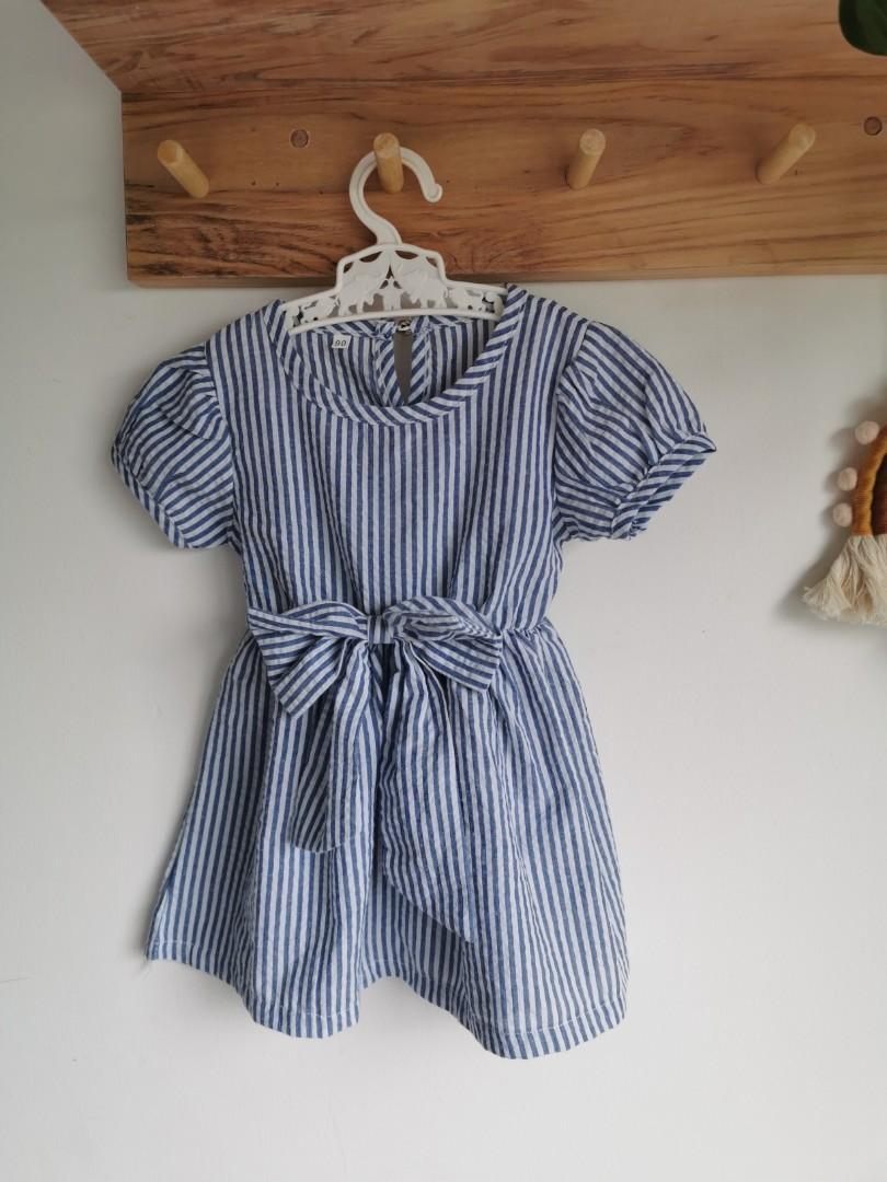 Dress anak perempuan stripe biru
