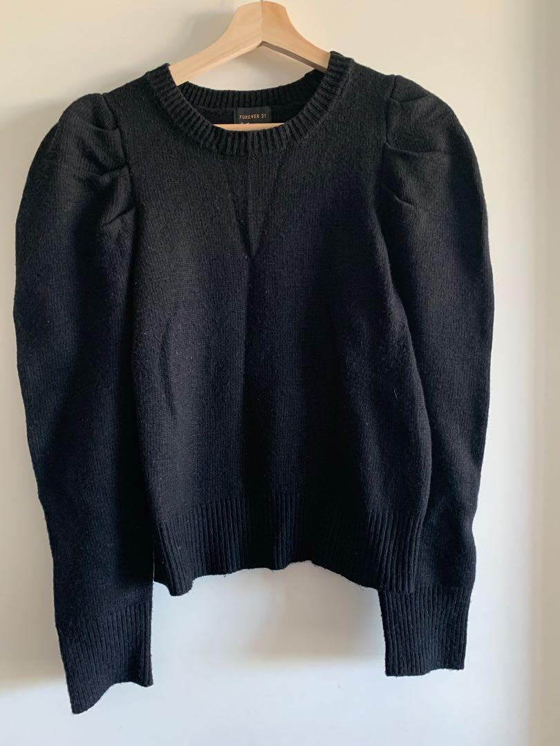 Forever21 Black short puff shoulder sweater, size L