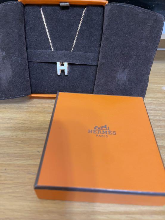 ✨【Hermes 愛馬仕】✨經典POP系列H字母立體簍空橢圓標誌鎖骨項鍊(白X玫瑰金)