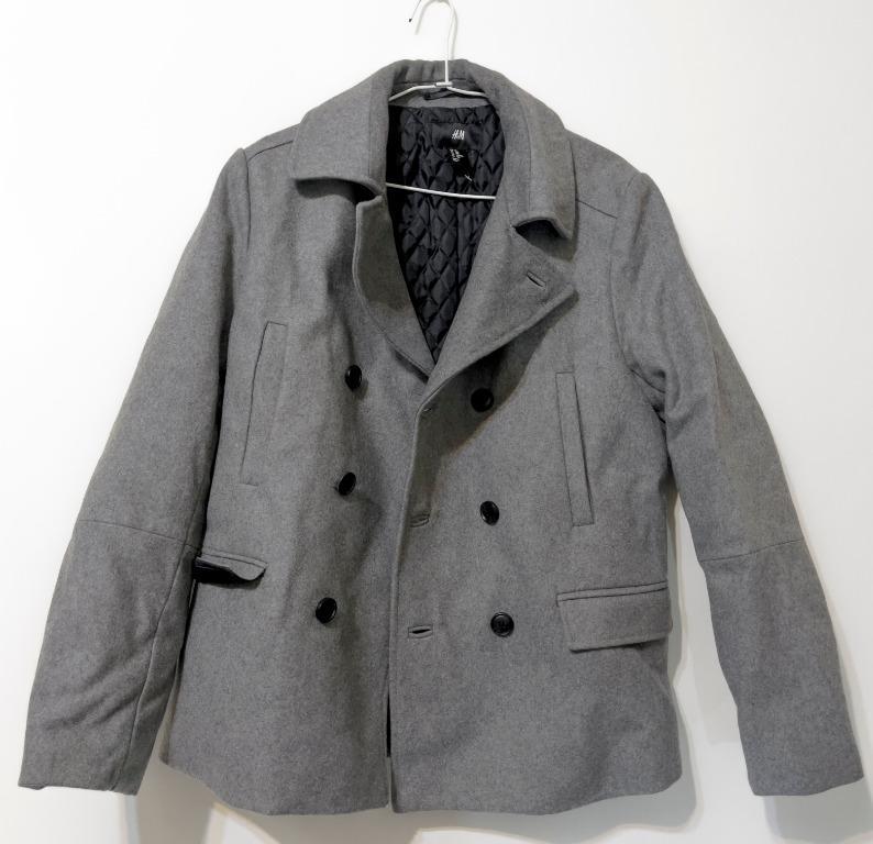 H&M 厚實保暖雙排扣短版男大衣外套 #全新未拆
