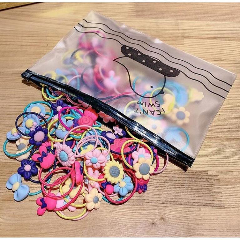 Ikat Rambut Korea Anak Mix Pattern Warna Warni Set 20 pcs Free Pouch