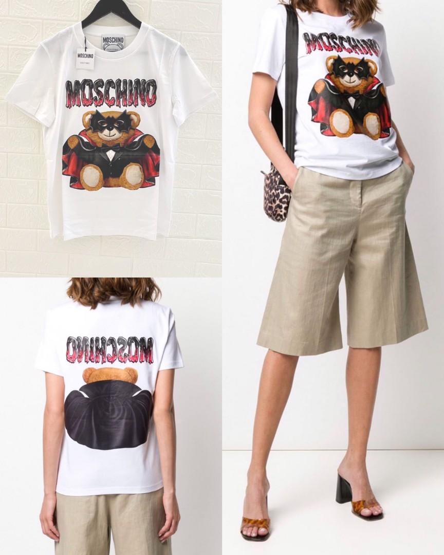 Moschino Teddy Bat tshirt ( regular fit ) Color : white Size 40 - LD 48cm  Size 42 - LD 50cm Size 44 - LD 52cm