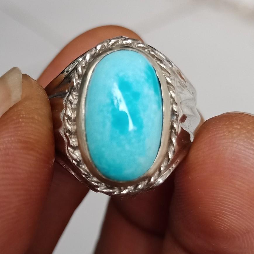 Natural Batu Cincin Pirus Persia Biru Top
