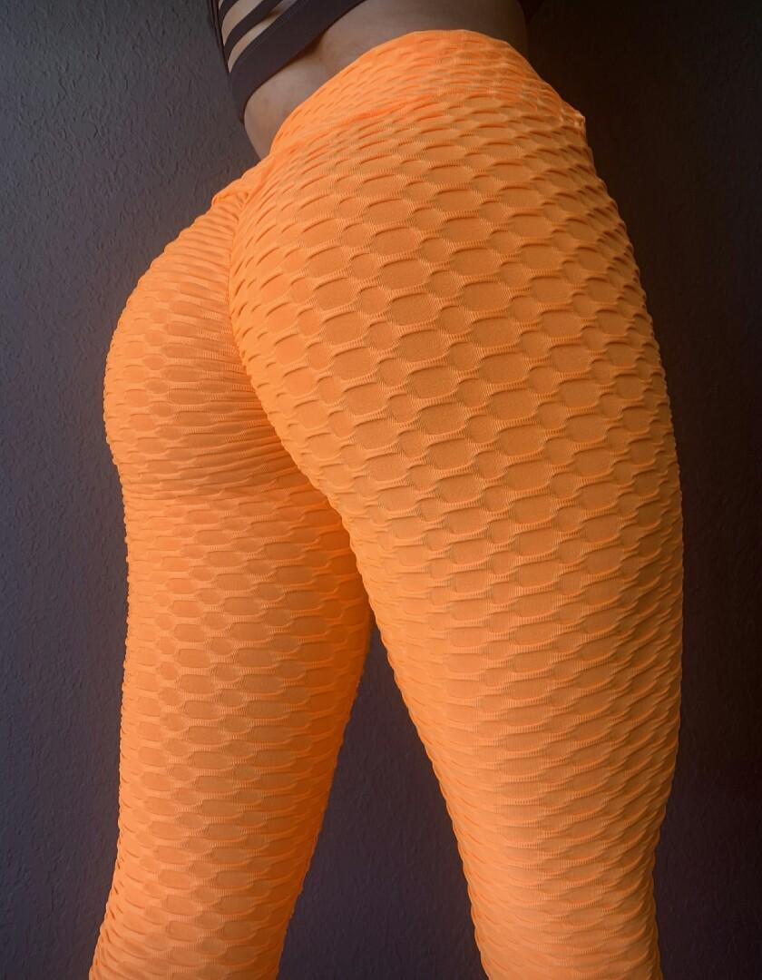 New Neon Orange Brazilian Scrunch Booty Leggings