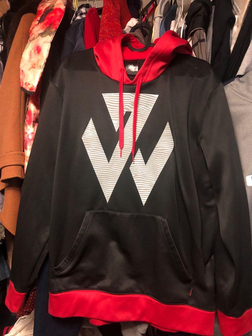 (二手)Adidas 大人長袖帽T 尺寸:L 紅黑色