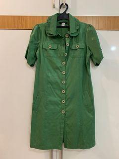N/Z vintage Leather Dress Kulit Green Hijau  Mini Midi
