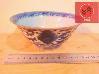 Porcelain China Antik Qing Biru Putih Mangkok Porcelain Lotus Tanda Berbunyi Da Qing Tongzhi Nian Zhi, Artinya Great Qing Tongzhi Periode (1862-1874)❤❤❤