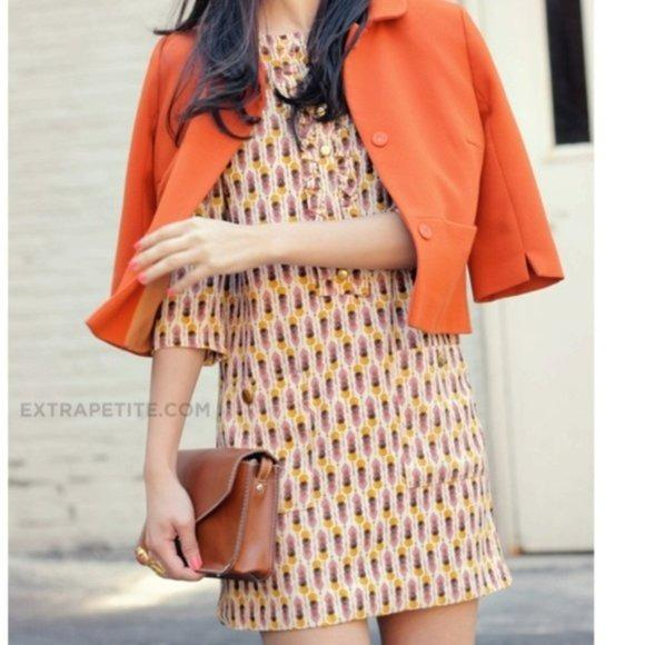 Ruffle Button Front 60s Style Shift Dress
