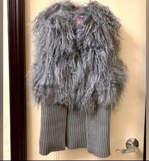 Silver Grey Lapin Vest Jacket 銀灰色毛毛背心外套