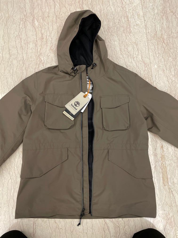 全新 Timberland 男款巧克力棕智能穿搭再生尼龍夾克