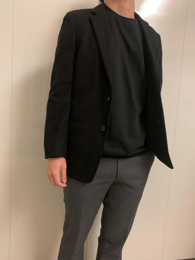 Uniqlo 毛呢西裝外套 西裝休閒外套 舒適外套 男