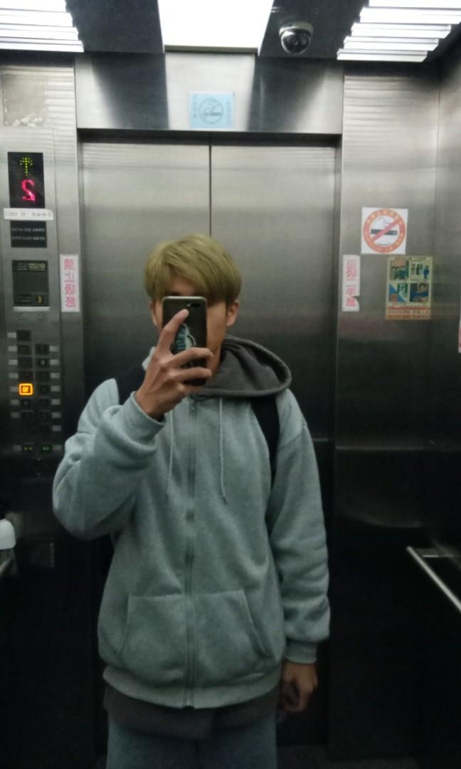 韓國百搭落肩灰色棉外套