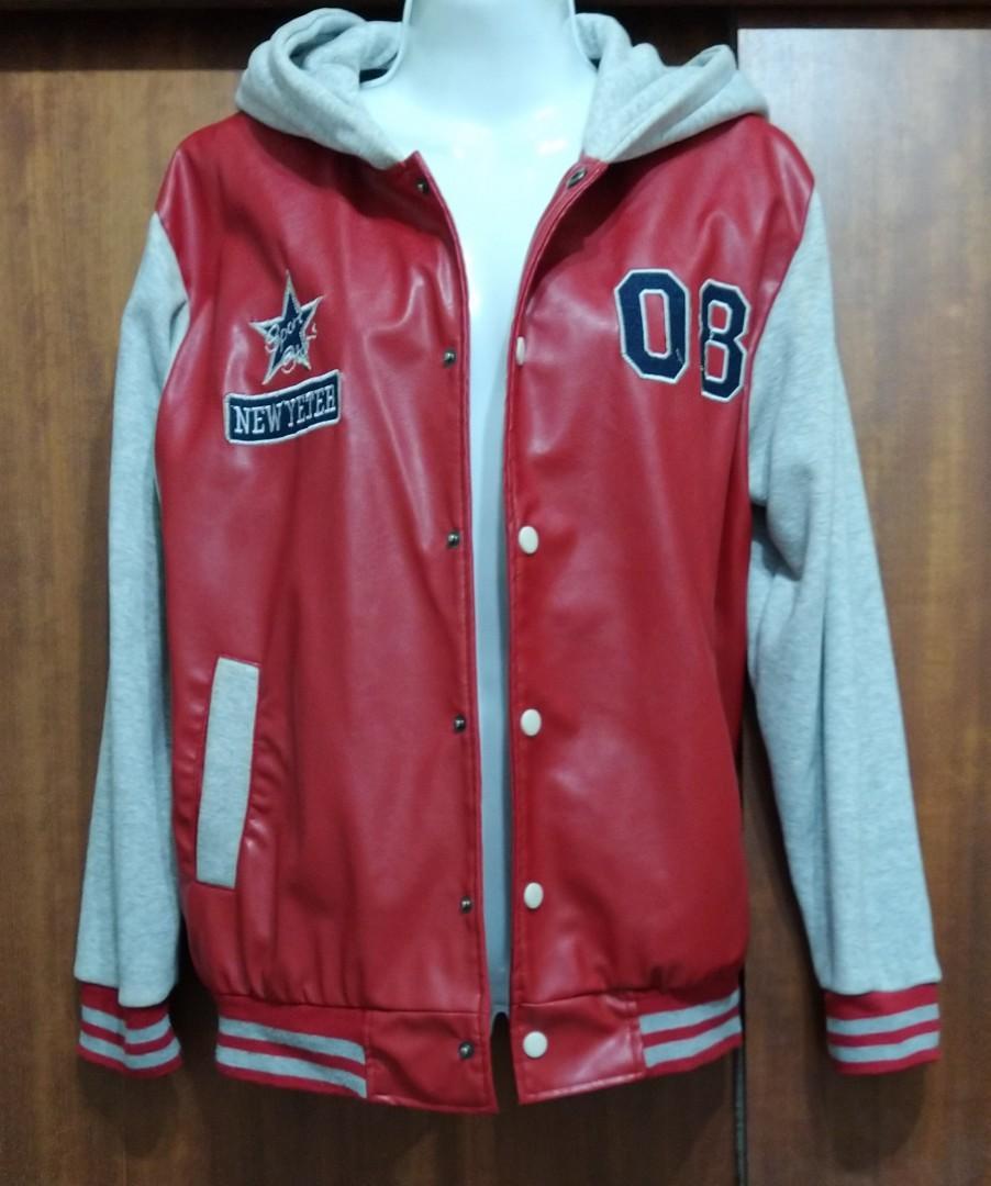 連帽皮夾克棒球式外套(男女皆可穿)