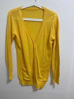 薄款長版黃色針織外套