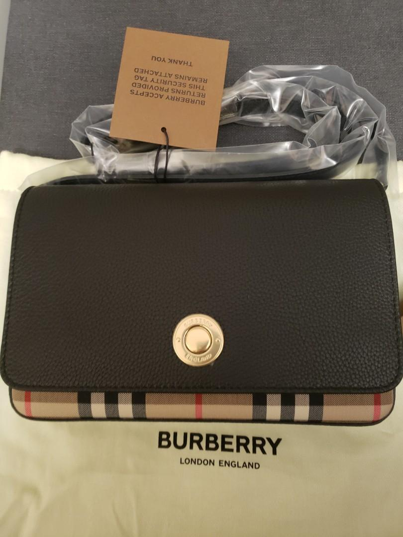 Authentic Burberry small leather and vintage check crossbody bag