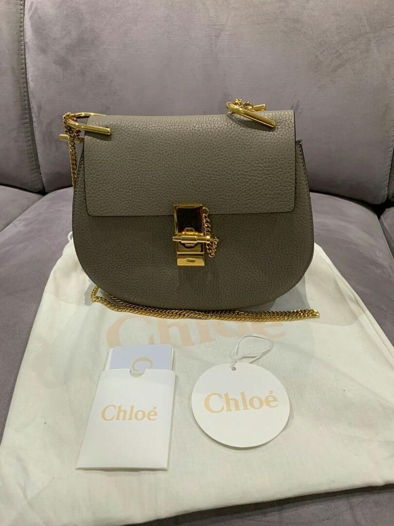 Chloe Drew handbag 小豬包 肩背包灰色斜跨包 專櫃正品