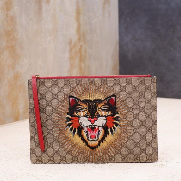 gucci gg supreme clutch angry cat