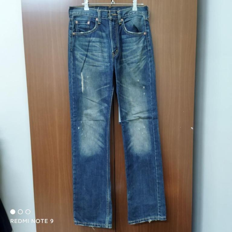 Levis 524 水洗刷色 刷破牛仔褲(W32L34)