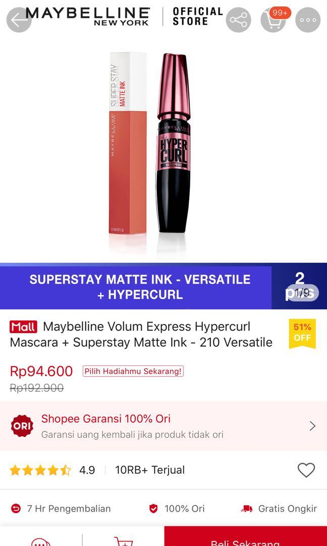 Package maybelline super stay matte ink dan mascara