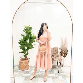 Peach baby doll dress