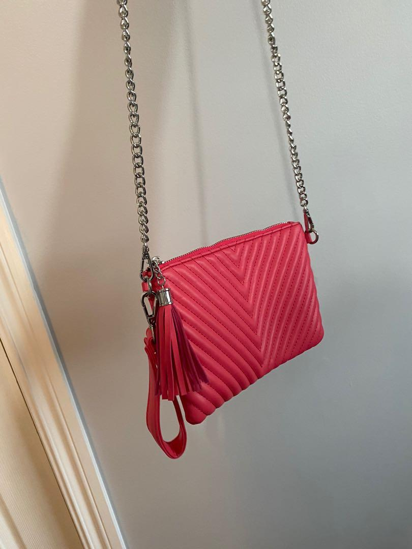 Pink leather quilted crossbody chain bag. Ysl inspired. Removable chain can be used as crossbody