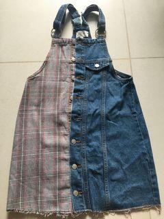 padini plaid and denim dungaree dress