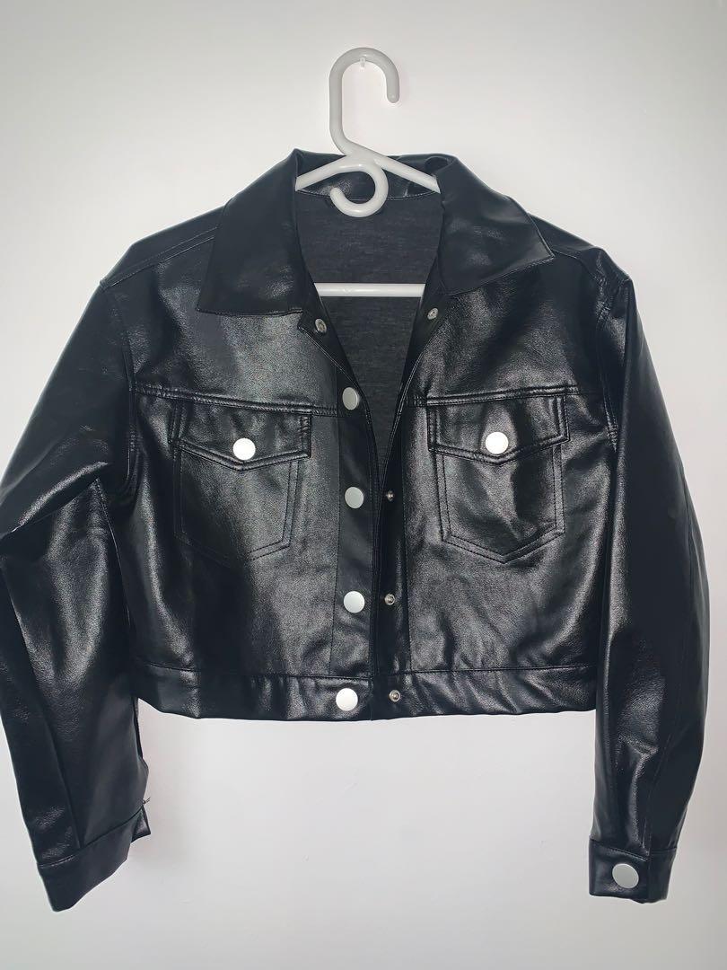 PU Leather Cropped Jacket